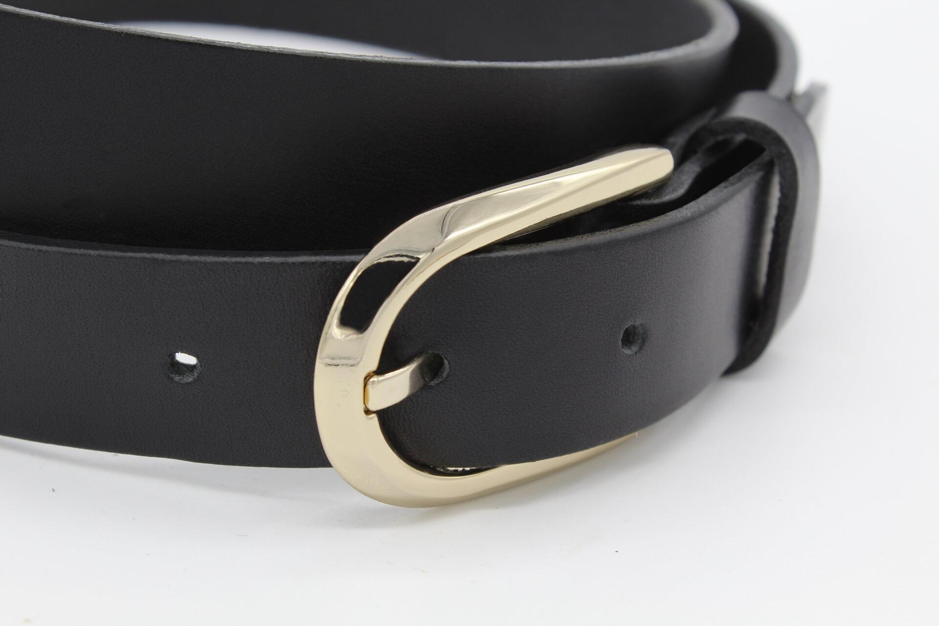 Ledergürtel Damen Damengürtel Gürtel schwarz 2,5 cm Lisbeth