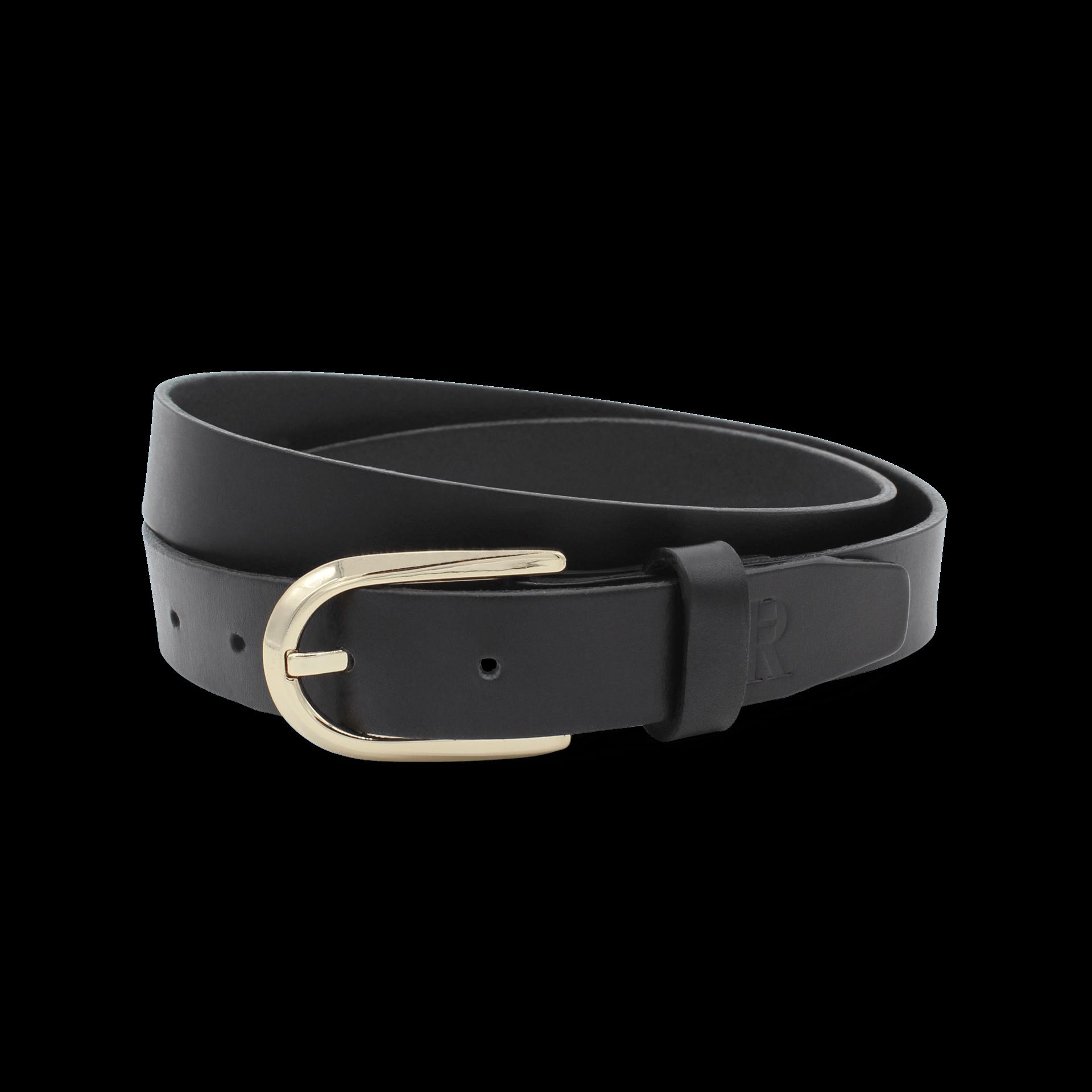 Ledergürtel Damen schmaler schwarzer Damengürtel mit goldener Schnalle Gürtel Schwarz 2,5 cm Lisbeth