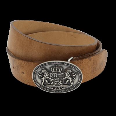 Gürtel für Trachtenlederhose Herren mit Bayern Wappen Vintage-Braun