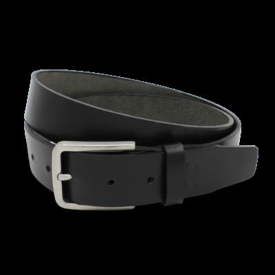 Gürtel schwarz Edelstahl Schnalle handgemacht 3,5cm breiter Ledergürtel