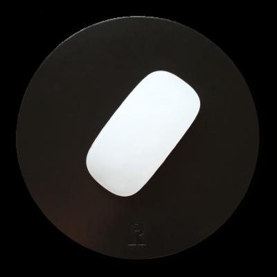 Mousepad Leder schwarz rund Echt Leder Mauspad